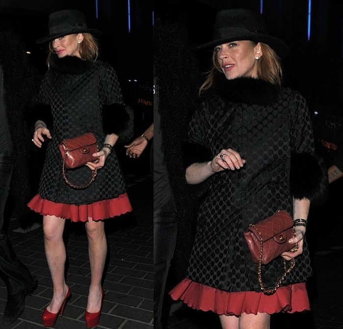Lindsay Lohan on a night out with friends in Soho in London