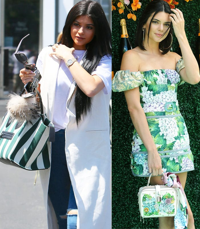 Sisters Kylie and Kendall Jenner experiment with green totes