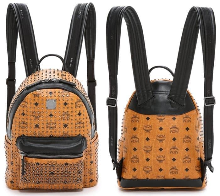 MCM Stud Small Backpack in Cognac