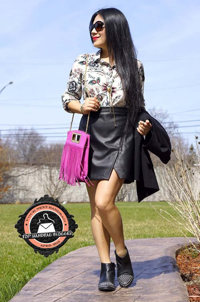 Grace styled her leather mini skirt with a funky pink fringe crossbody bag
