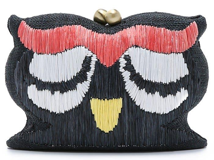 Serpui Marie Embroidered Owl Clutch