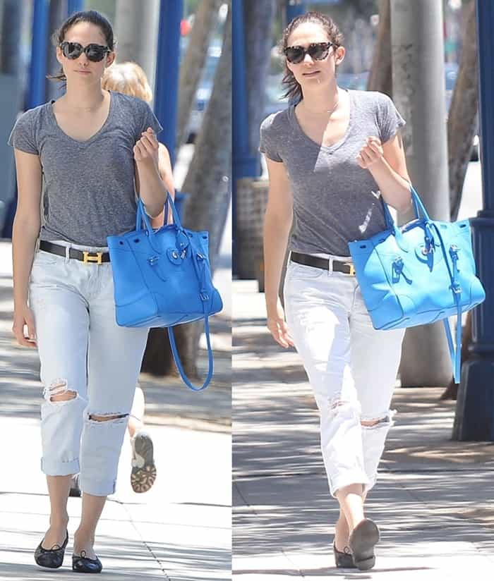 Emmy Rossum totes a blue Ralph Lauren Ricky bag in West Hollywood