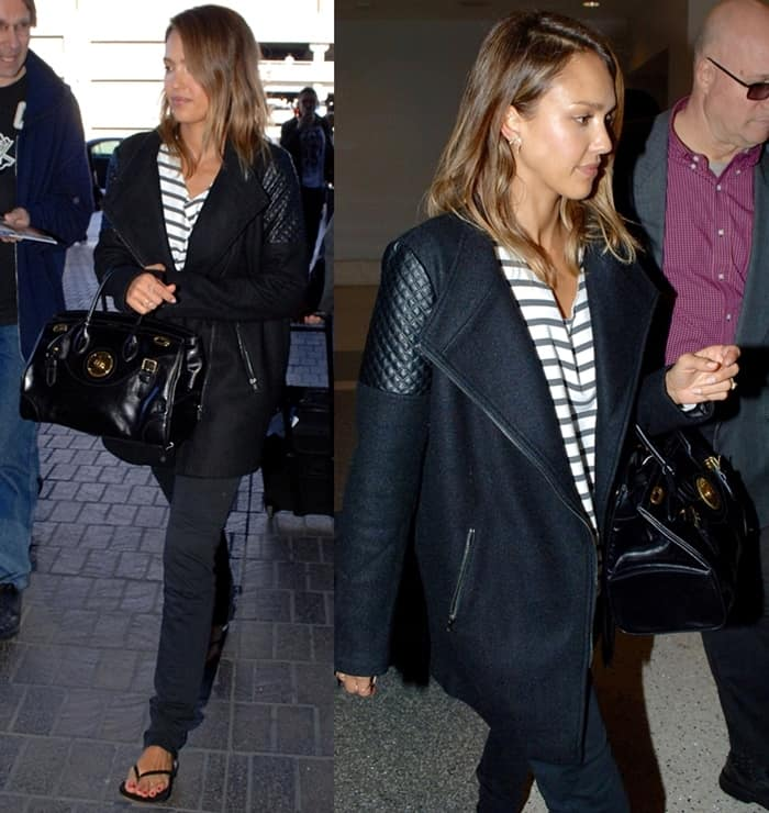 Jessica Alba totes Ralph Lauren's Ricky bag at Los Angeles International Airport