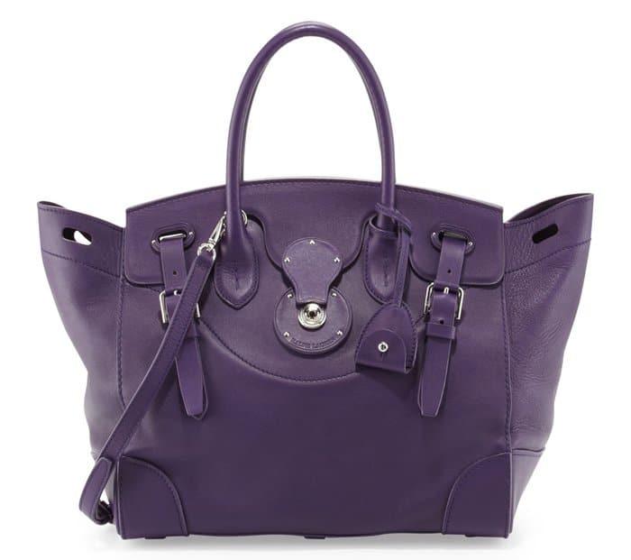 """Ralph Lauren """"Ricky 33"""" Calfskin Satchel Bag in Purple"""