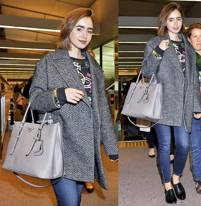 Lily Collins arriving at Narita International Airport in Japan on December 1, 2014