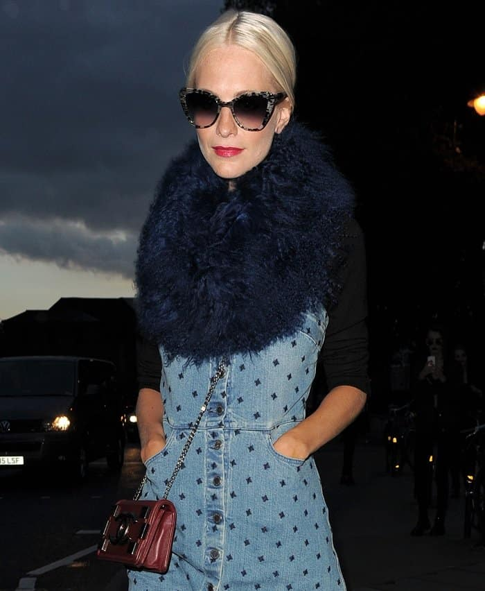 Poppy Delevingne spotted at the House of Holland spring/summer 2016 show during London Fashion Week in London, England, on September 19, 2015
