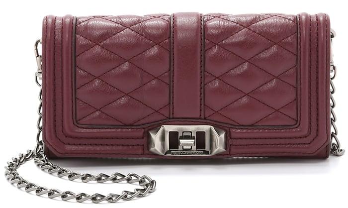Rebecca Minkoff Mini Love Wallet on a Chain in Port