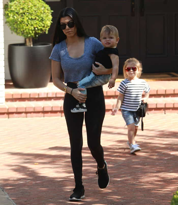 Kourtney Kardashian with Penelope Disick and Reign Disick in Hollywood Hills, California on February 26, 2016