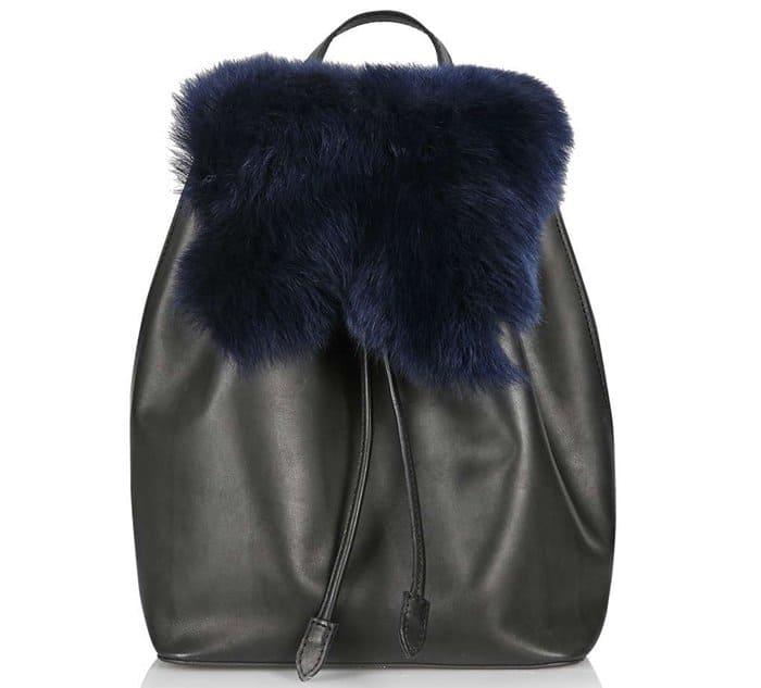 Topshop Premium Shearling Backpack Blue