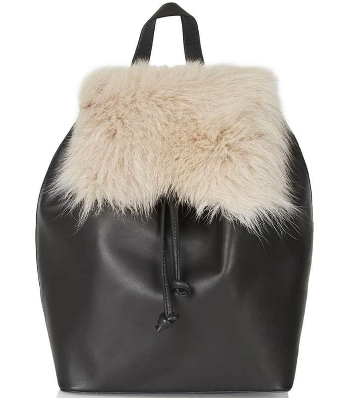 Topshop Premium Shearling Backpack Natural