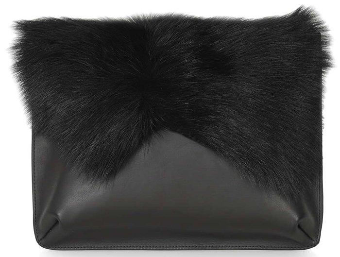 Topshop Premium Shearling Clutch Black