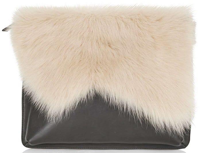 Topshop Premium Shearling Clutch White