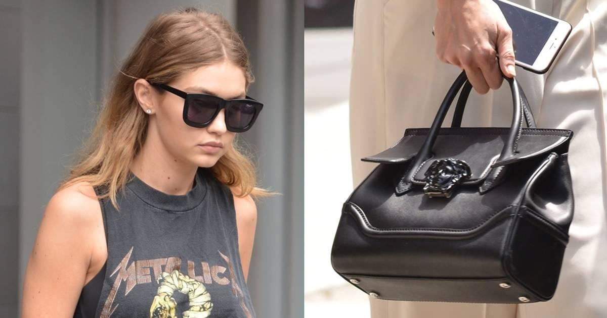 cd79576823 Gigi Hadid Carries Versace Palazzo Empire Bag in SoHo