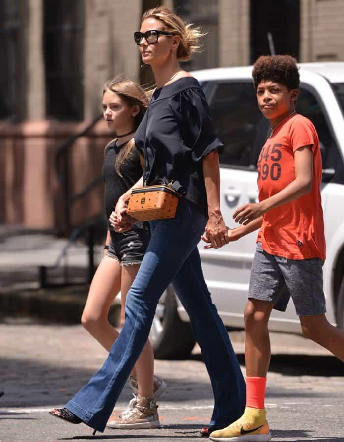 Heidi Klum and her family walking around the Tribeca neighborhood in Lower Manhattan