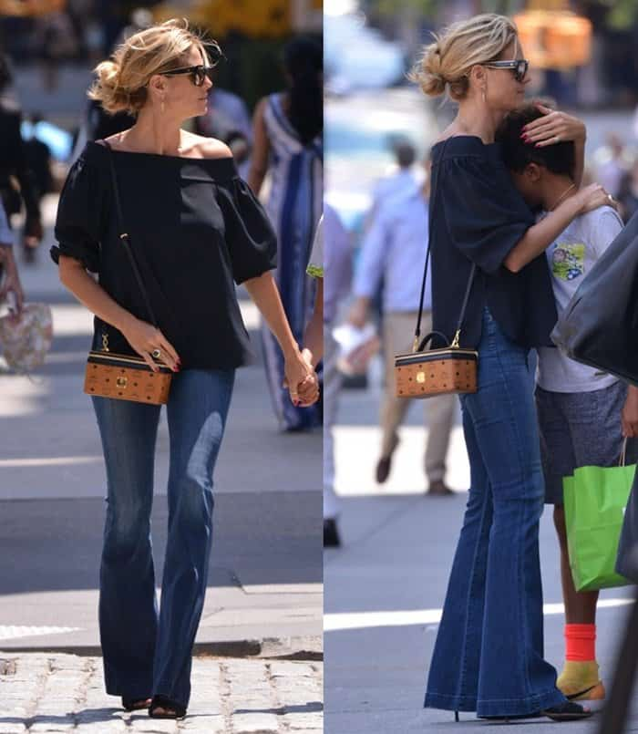 Heidi Klum completed her look with Gianvito Rossi Marnie ankle boots