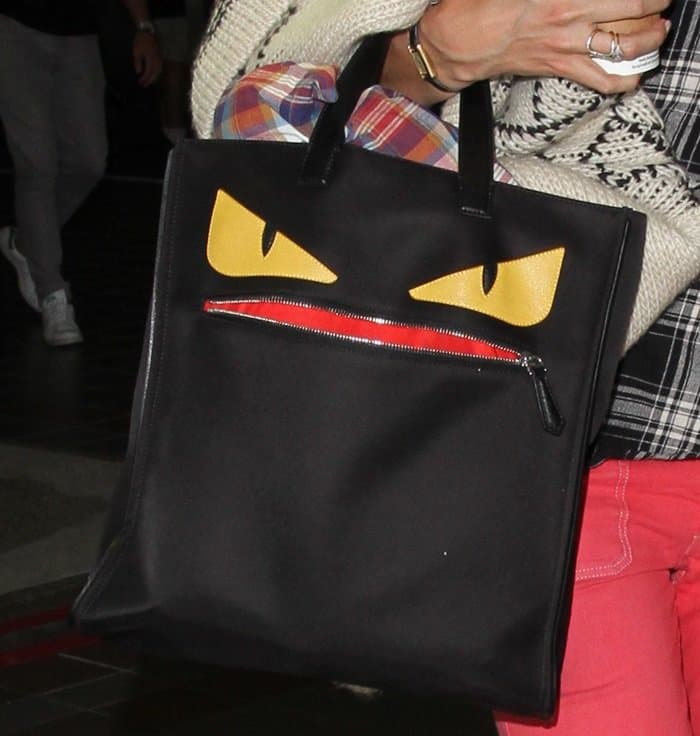 Bare-Faced Katie Holmes Goes Casual with Fendi Monster Creature Tote