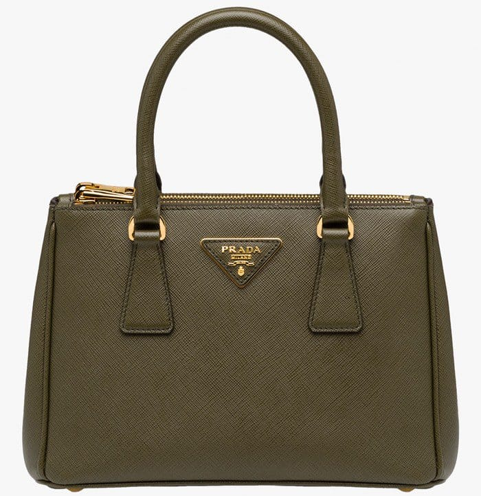Prada Saffiano Mini Galleria Crossbody Bag Green