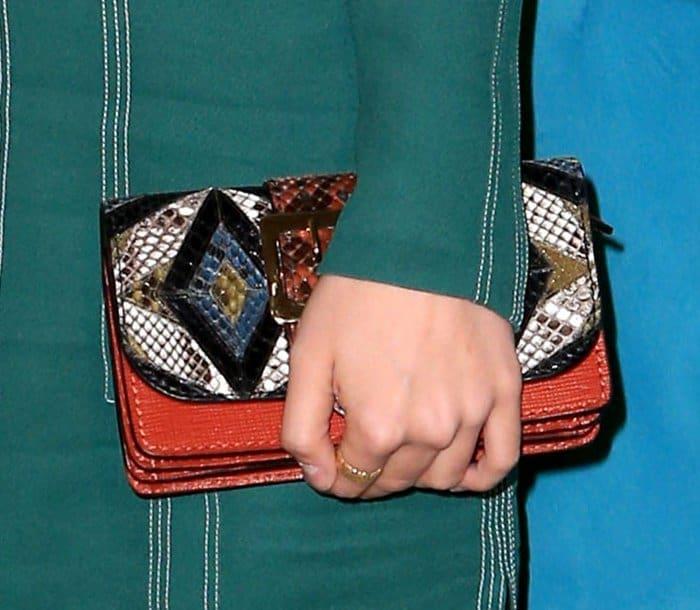 Suki Waterhouse carrying Burberry patchwork bag