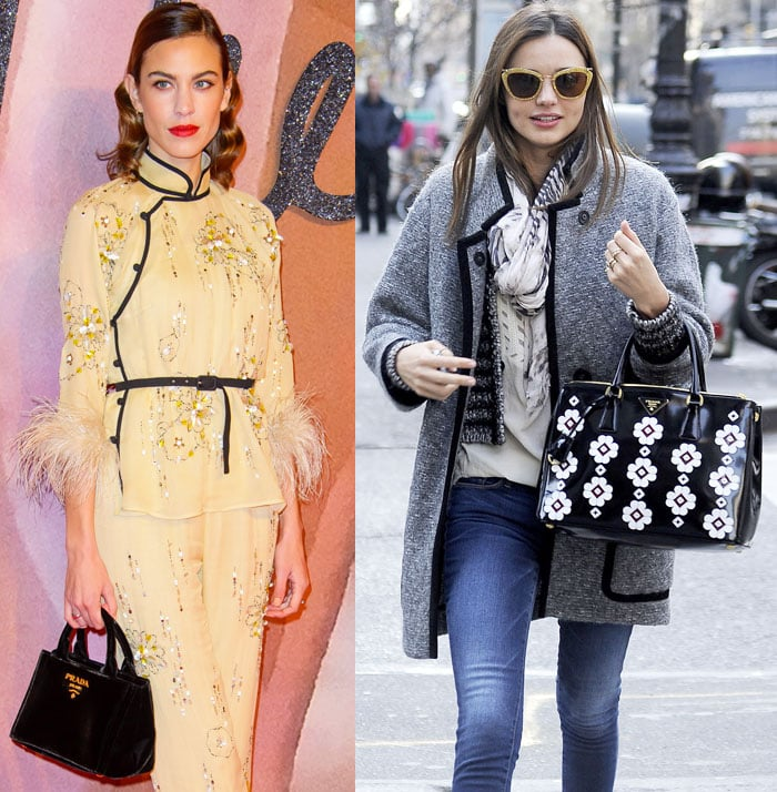 Fashion icon Alexa Chung and model Miranda Kerr go for the top handle Prada totes