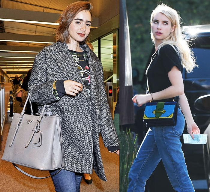 Even Hollywood youngins Lily Collins and Emma Roberts love Prada