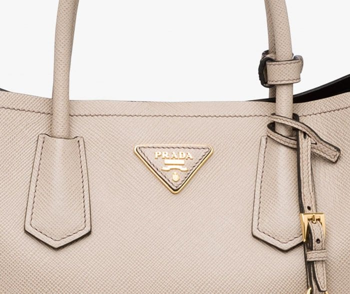 The topstitching on most Prada bags is slightly angled