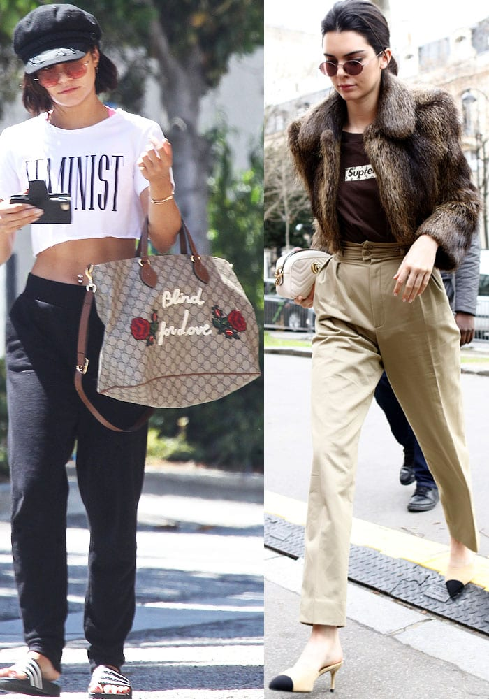 Vanessa Hudgens and Kendall Jenner casually stroll through town with their oversized and mini Gucci bags