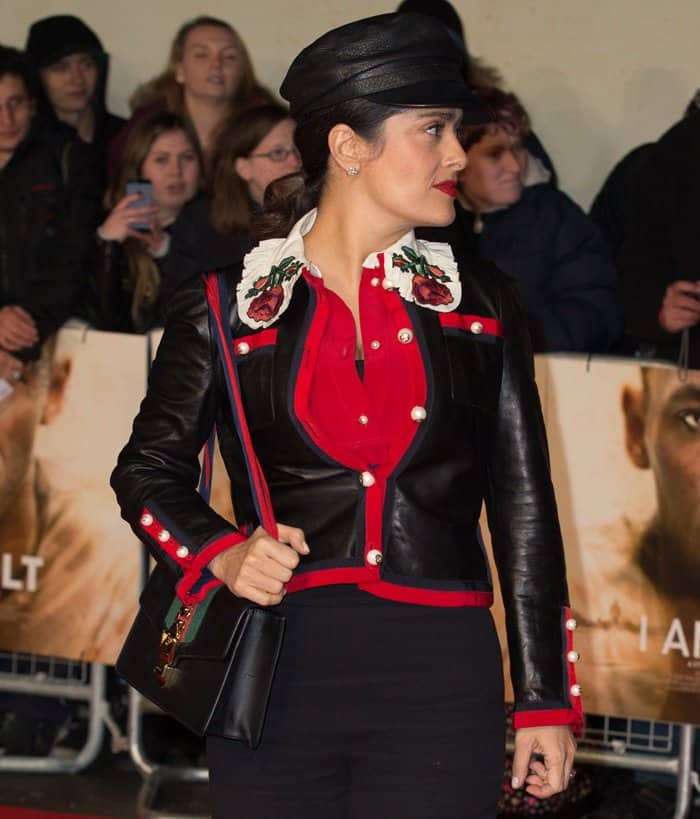 "Salma Hayek at the ""I Am Bolt"" world premiere at the Odeon Leicester Square in London on November 28, 2016"