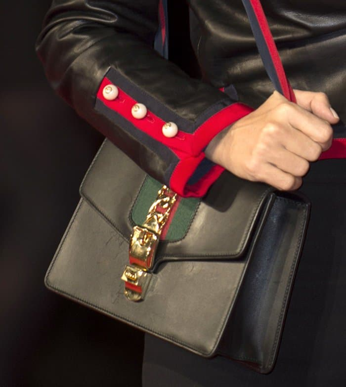 Salma Hayek accessorized with a Gucci 'Sylvie' shoulder bag
