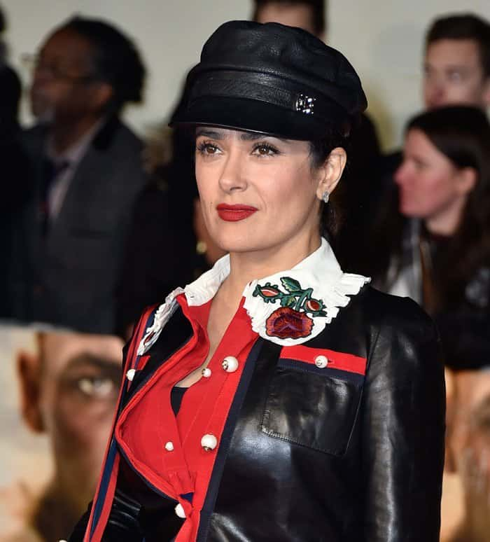 Salma Hayek showcased her tough side with a military chic Gucci ensemble