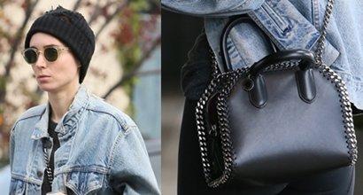 00c3ac589825 Bare-Faced Rooney Mara Carries Stella McCartney  Falabella  Box Bag
