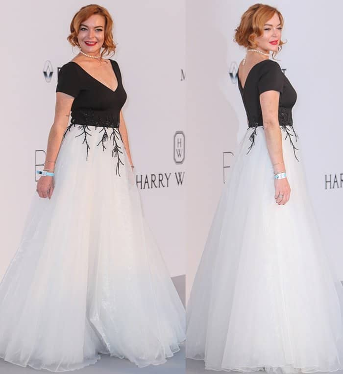 Lindsay Lohan at the 24th annual amfAR fundraiser during the Cannes Film Festival at the Hotel Eden Roc.