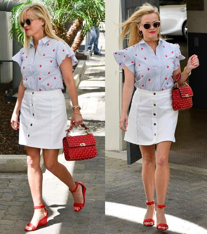 Reese Witherspoon leaving her office in Beverly Hills while looking stylish in a Draper James ensemble