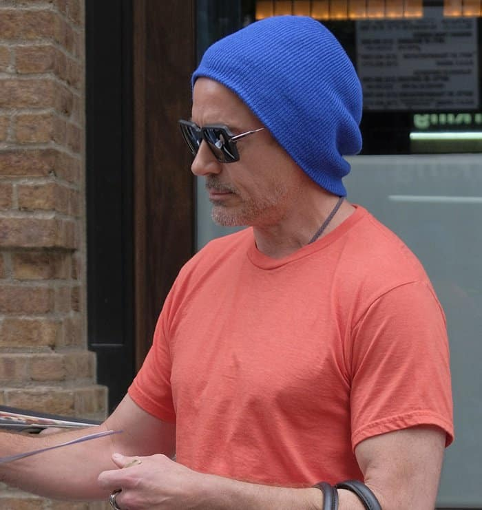 Robert Downey Jr. spotted leaving his hotel in New York.