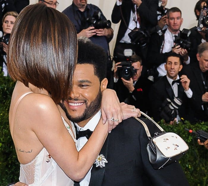 The Weeknd with girlfriend Selena Gomez at the 2017 Met Gala held at the Metropolitan Museum of Art in New York City.