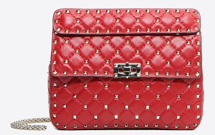 Valentino Rockstud Spike medium chain bag in Valentino Red