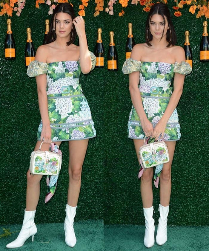Kendall paired her Dolce & Gabbana ensemble with white booties
