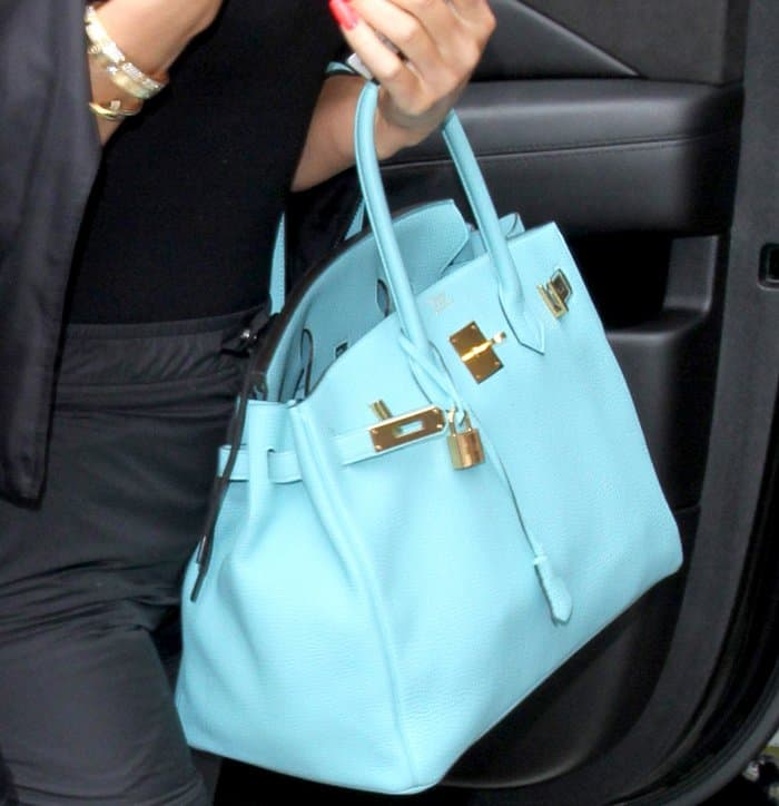 The blue Saint Cyr is one of the more popular bold colorways of the Birkin bag