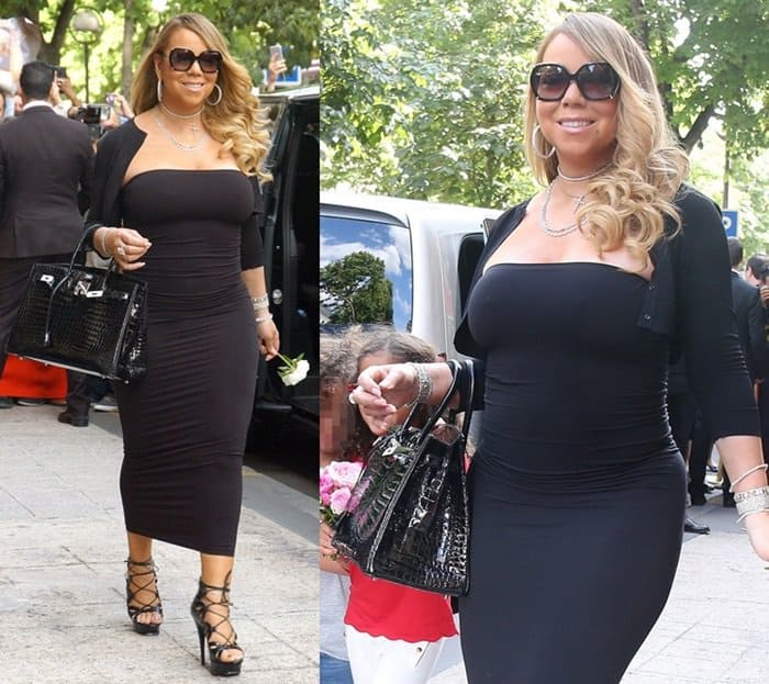 Mariah Carey spotted walking out of Plaza Athenee Hotel in Paris.
