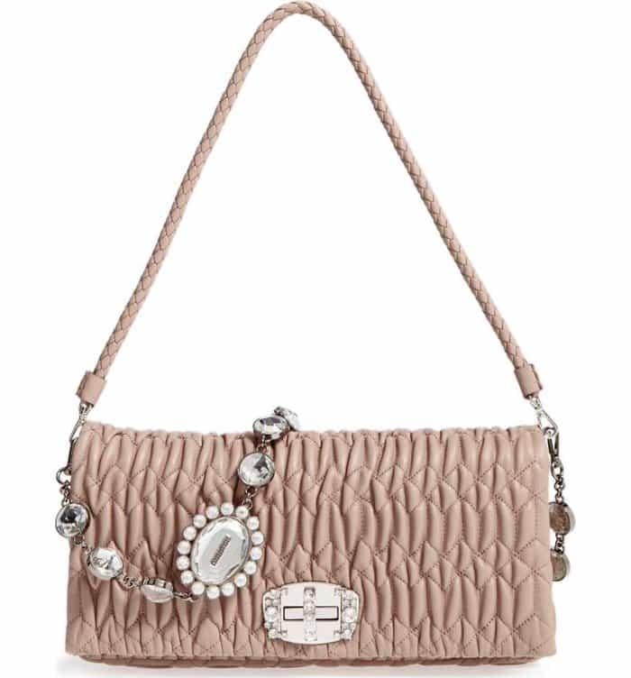 Miu Miu Swarovski Crystal Chain Leather Shoulder Bag in Cammeo