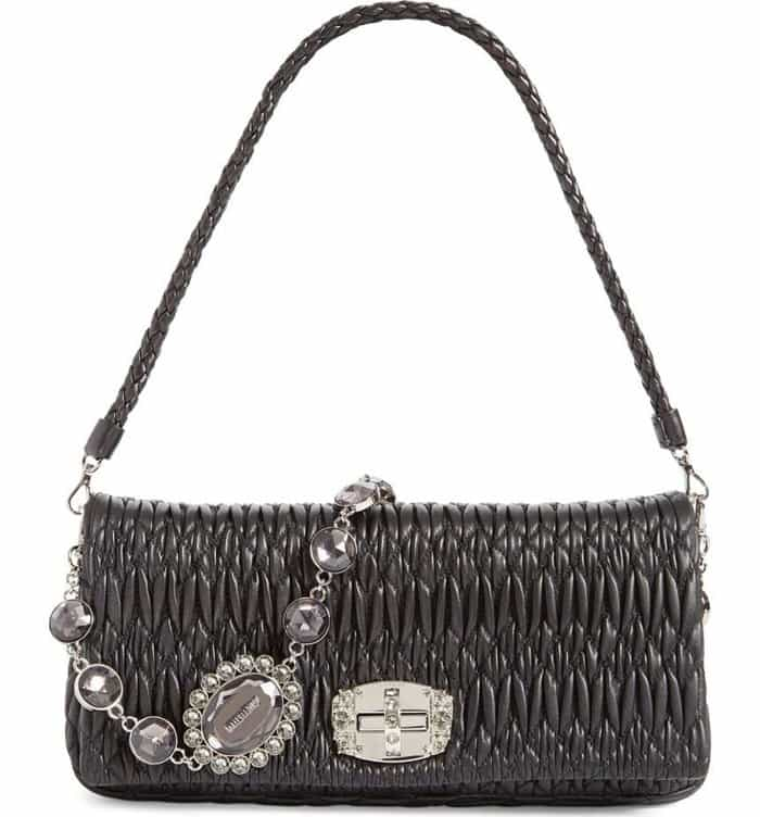 Miu Miu Swarovski Crystal Chain Leather Shoulder Bag in Nero