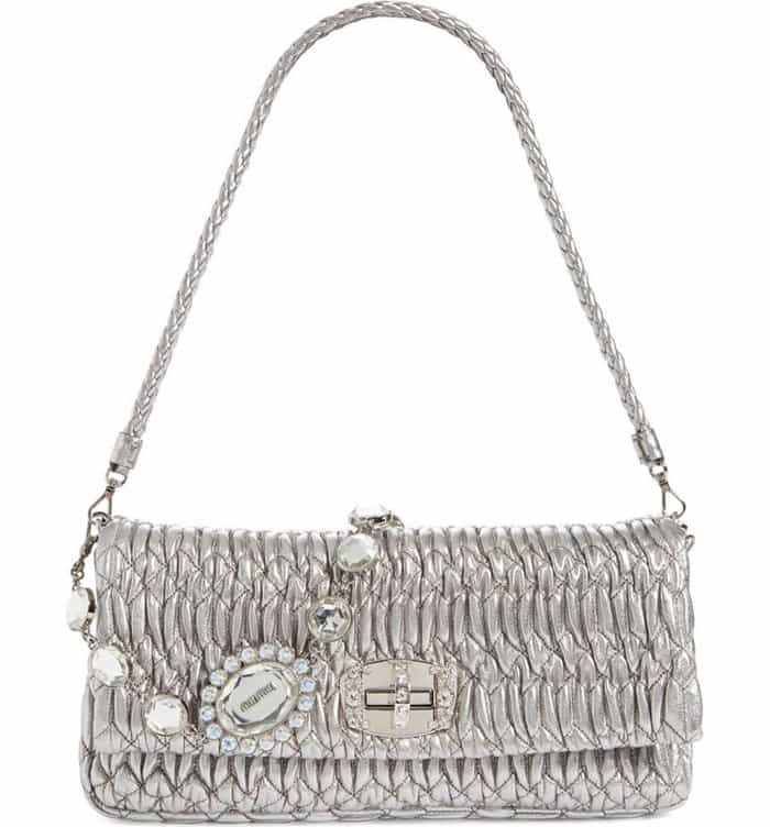 Miu Miu Swarovski Crystal Chain Leather Shoulder Bag in Cromo