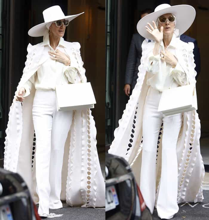 Celine Dion wearing head-to-toe white in Paris.