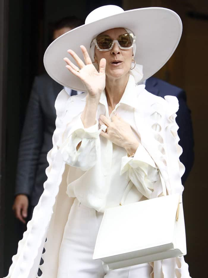Celine Dion spotted wearing a chic ,all-white ensemble during Paris Fashion Week.