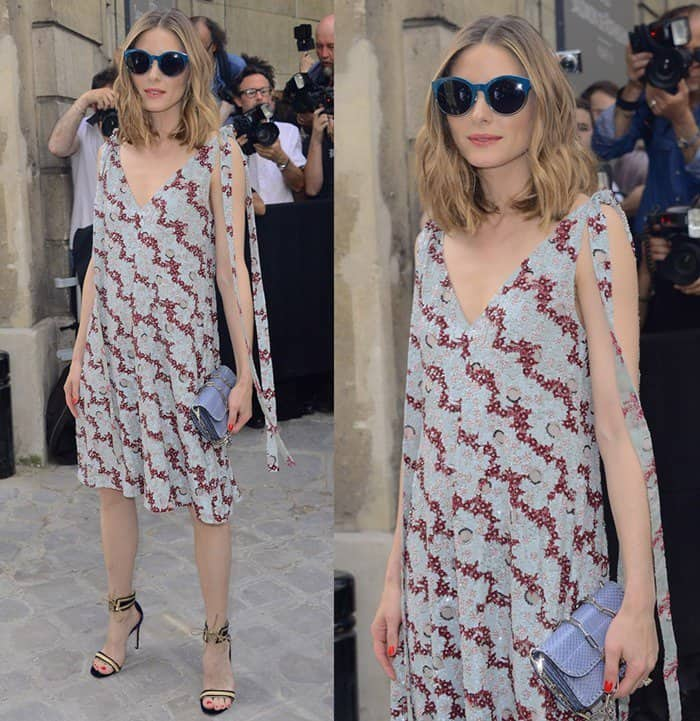 Olivia Palermo wearing a sequin dress at the Valentino fashion show during Paris Fashion Week.