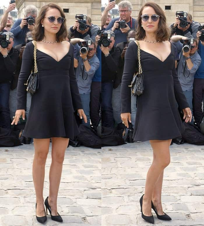 Natalie Portman wearing a little black dress at the Dior show during Paris Fashion Week.