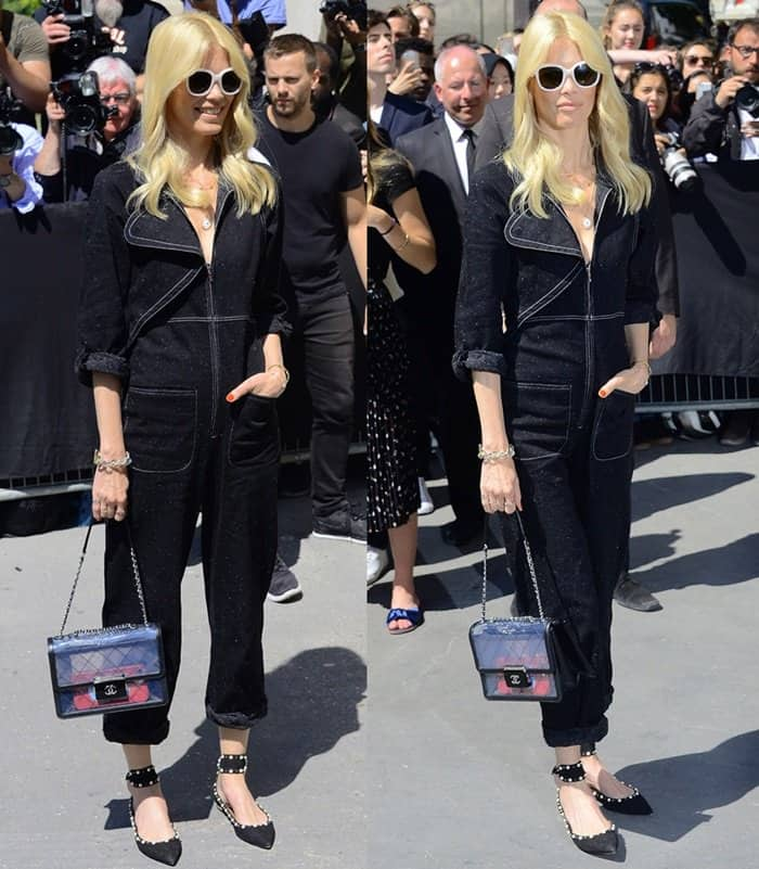 Claudia Schiffer attends Paris Fashion Week in chic one piece ensemble and Chanel flap bag.