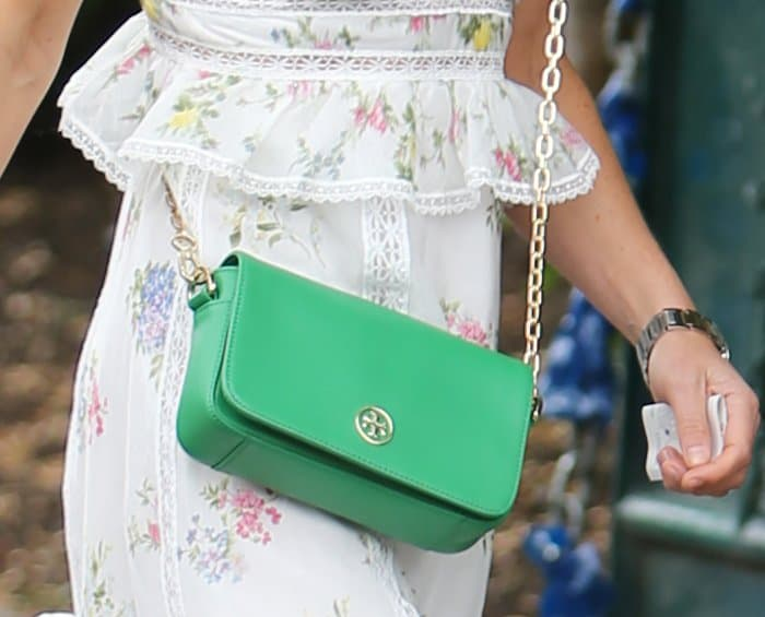 Pippa Middleton carrying a Tory Burch crossbody bag.