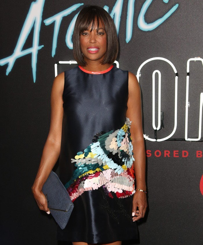 "Aisha Tyler attends the premiere of Focus Features' ""Atomic Blonde"" in Los Angeles on July 25, 2017"
