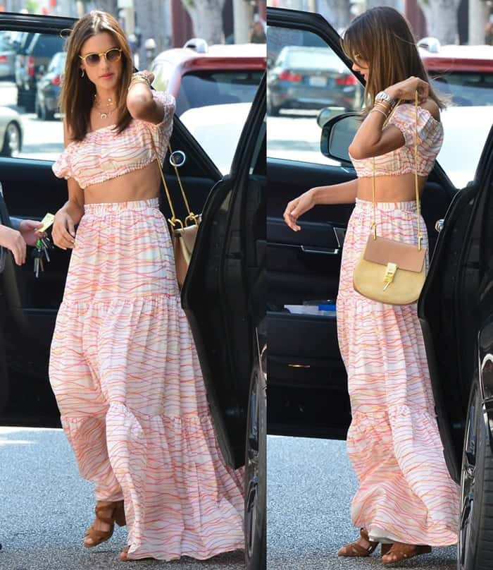 Alessandra Ambrosio spotted at The Ivy in Beverly Hills.