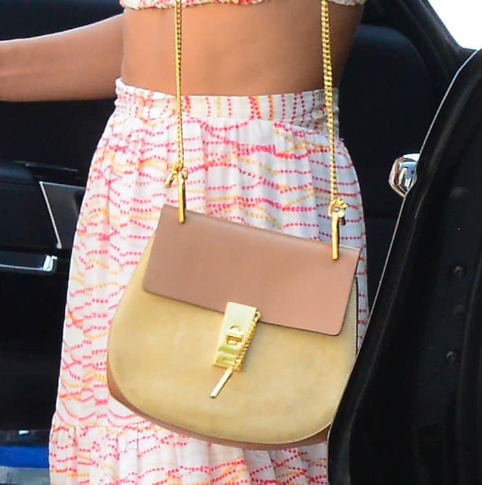 Alessandra Ambrosio's leather and suede Chloe 'Drew' bag